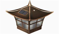 Classy_Caps_Outdoor_Solar_Fence_Deck_Light_Post_Cap_Interesting_Oriental_Asain_Asian_Chinese_Design_Copper_4x4_Ambience_SL094