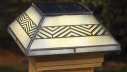 Deckorator_Solar_Post_Cap_4x4_Deck_Light_Fence_Capping_Sun_Light_Stained_Glass_Chevron