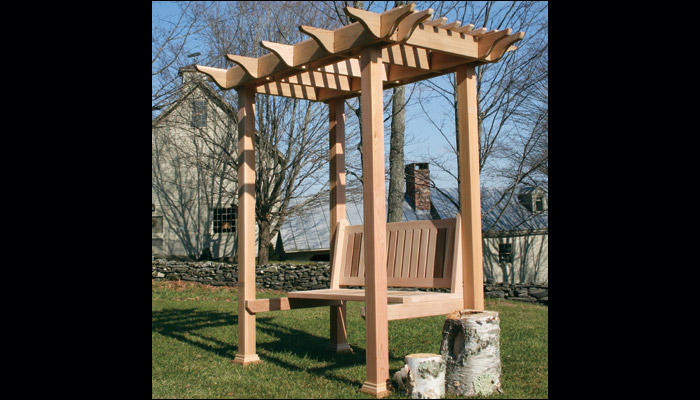 Arlington Red Cedar Pergolas by Nantucket Post Cap