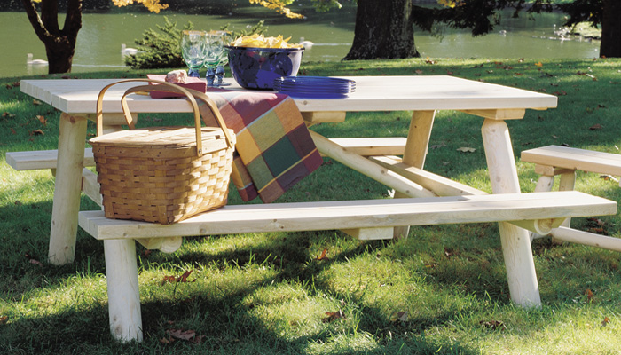 Log Picnic Table by Rustic Cedar Furniture